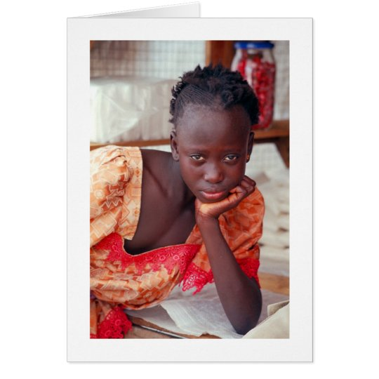 Card, Pensive Child at Home, Banjul, Gambia Card