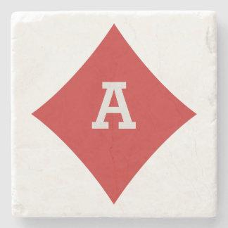 Card Player custom monogram coaster - Diamond