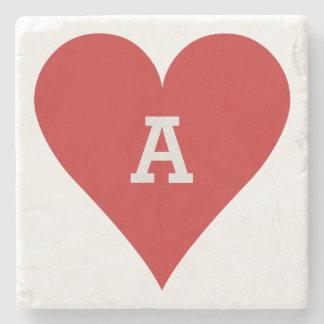 Card Player custom monogram coaster - Heart