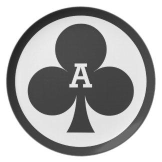 Card Player custom monogram melamine plate - Club