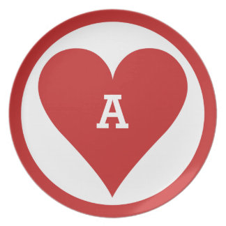 Card Player custom monogram melamine plate - Heart