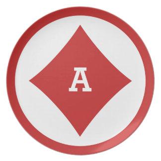 Card Player custom monogram plate - Diamond