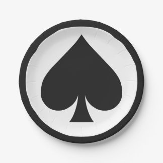 Card Player paper plates - Spade