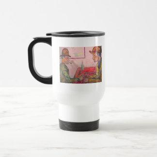card player watercolour coffee mugs