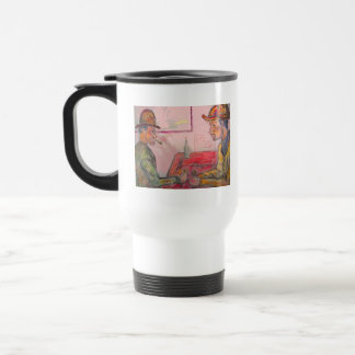 card player watercolour stainless steel travel mug