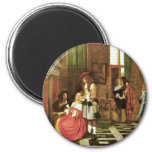 Card Players By Hooch Pieter De (Best Quality) 6 Cm Round Magnet
