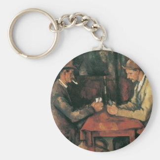 Card Players by Paul Cezanne, Vintage Fine Art Basic Round Button Key Ring