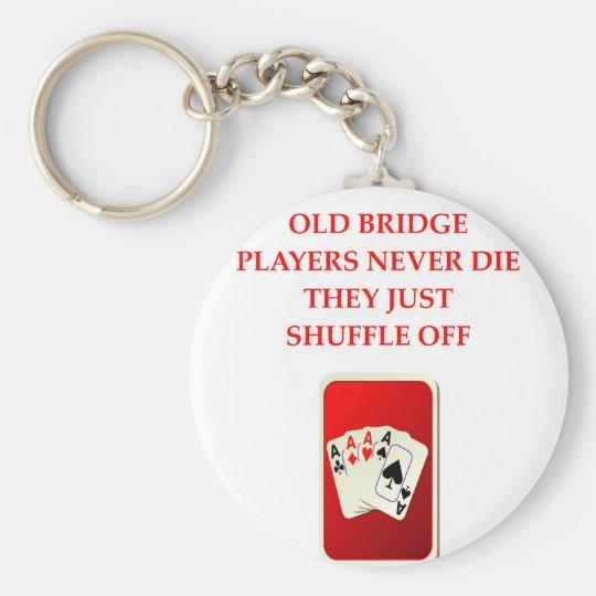 card players joke key ring