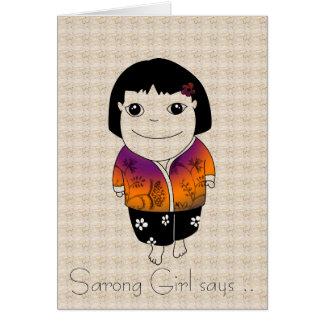 Card - Sarong Girl says batik