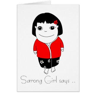 Card Sarong Girl Says - red