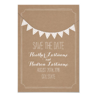 Card Stock Inspired Eyelet Bunting Save The Date 9 Cm X 13 Cm Invitation Card