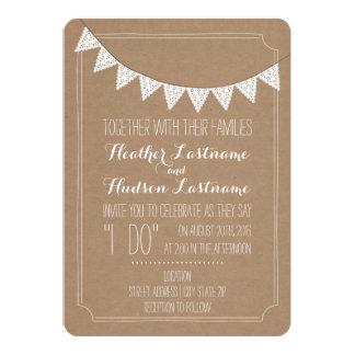 "Card Stock Inspired Eyelet Bunting Wedding 5"" X 7"" Invitation Card"
