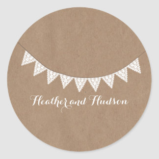 Card Stock Inspired Eyelet Bunting Wedding Sticker