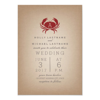 Card Stock Inspired Monogram Crab Wedding