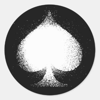 Card suit Spades white-  grunge Classic Round Sticker