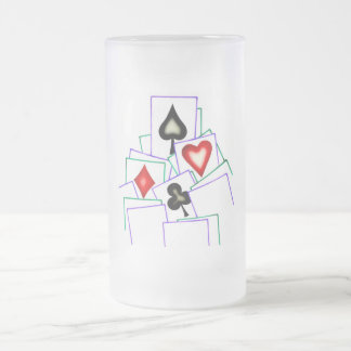 Card Suits Frosted Glass Beer Mug