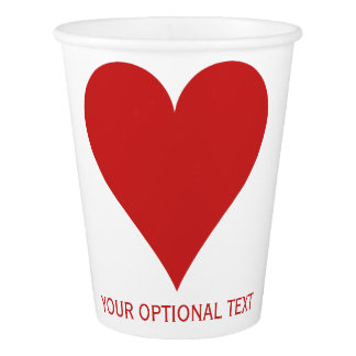 Card Suits (Heart) custom paper cups