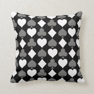 Card Suits Monochromatic Throw Pillow