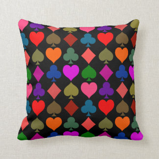 Card Suits Pattern, Bright Throw Pillow