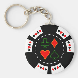 CARD SUITS POKER CHIP BASIC ROUND BUTTON KEY RING