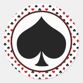 Card Suits Theme | Poker Theme | Black Spade Round Sticker