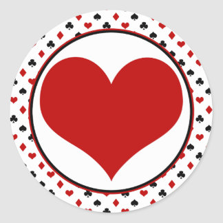 Card Suits Theme | Poker Theme | Red Heart Round Sticker