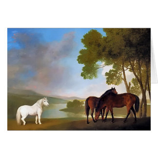 Card: Two Bay Mare & a Grey  Pony Greeting Card
