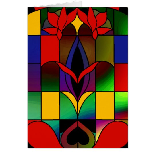 Card Vintage Art Stained Glass Window Red