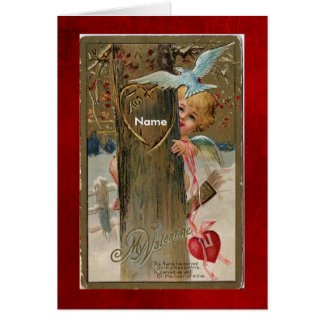 Card-Vintage Valentine-Put name on front Greeting Card