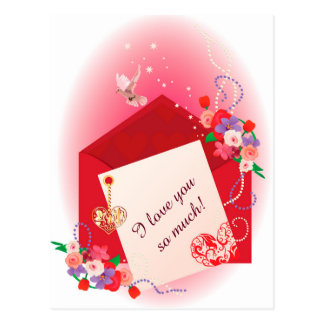 Card with hearts and envelope postcard
