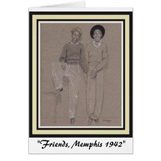 Card with Original Art--Young Black Men 1942