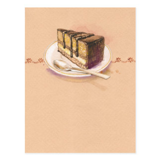 Card with painted watercolor cake postcard