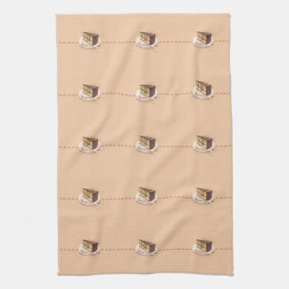 Card with painted watercolor cake tea towel