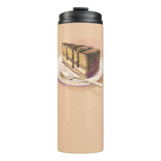 Card with painted watercolor cake thermal tumbler