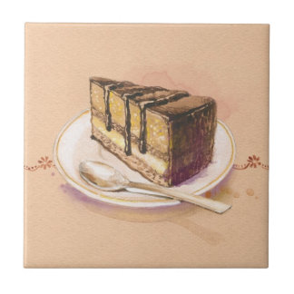 Card with painted watercolor cake tile