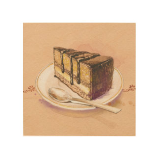 Card with painted watercolor cake wood wall decor