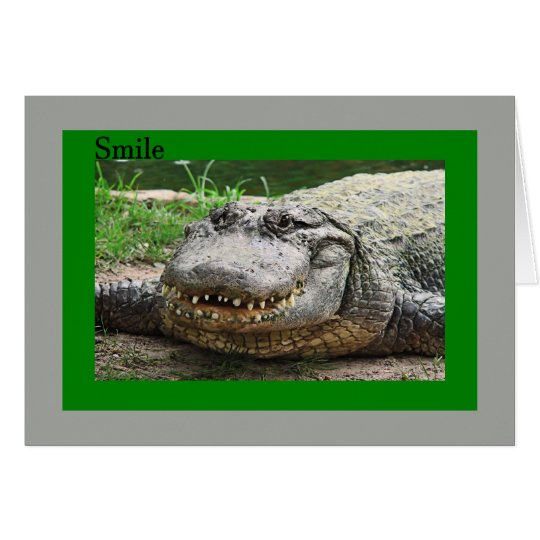 Card with Smiling Alligator, Just Beat Cancer