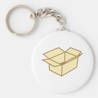 Cardboard box basic round button key ring