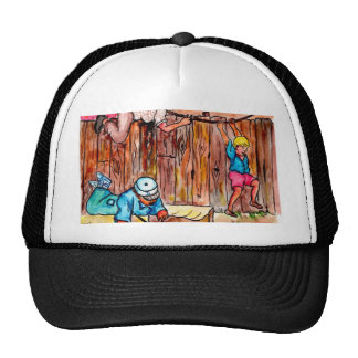 Cardboard Boxes,Fences and Clotheslines Mesh Hats