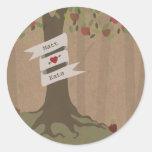 Cardboard Inspired Apple Orchard Wedding Round Sticker