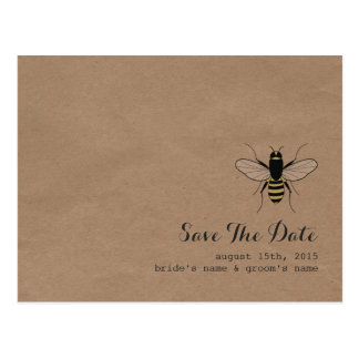 Cardboard Inspired Honey Bee Save The Date Post Cards