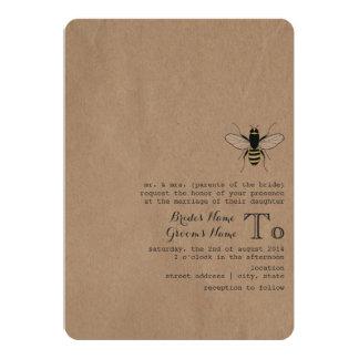Cardboard Inspired Honey Bee Wedding 13 Cm X 18 Cm Invitation Card