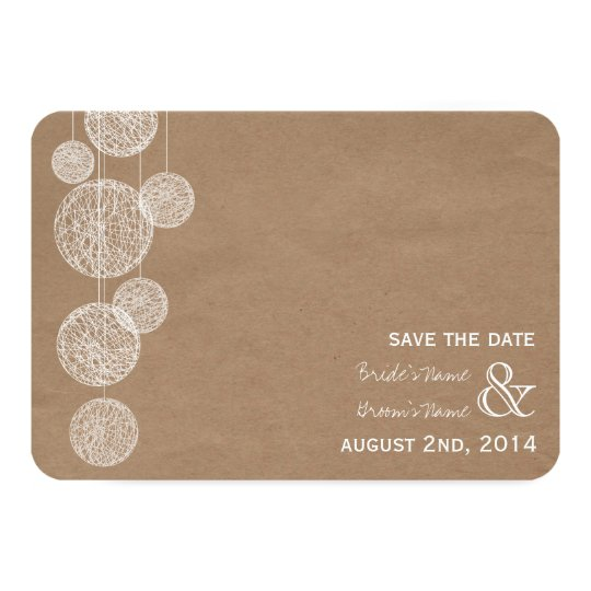 Cardboard Inspired Twine Globes Save The Date Card