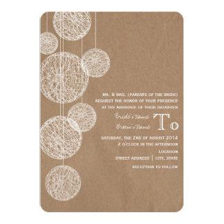 Cardboard Inspired Twine Globes Wedding 13 Cm X 18 Cm Invitation Card