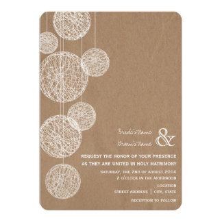 "Cardboard Inspired Twine Globes Wedding Invitation 5"" X 7"" Invitation Card"