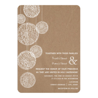 Cardboard Inspired Twine Globes Wedding Invitation