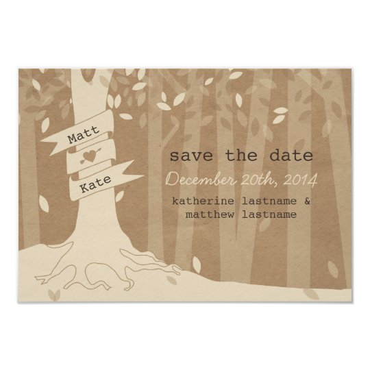 Cardboard Look Woodland Wedding Save The Date Card