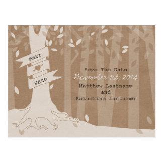 Cardboard Look Woodland Wedding Save The Date Postcard