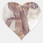 Cardboard tower heart stickers