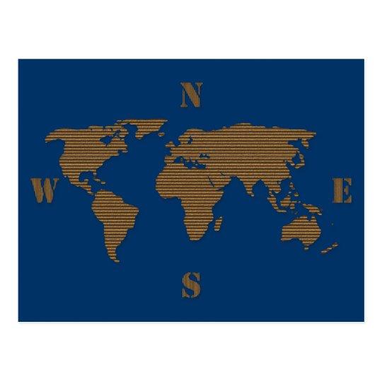 Cardboard World Map Postcard